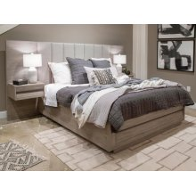 Complete King Wall Upholstered Bed with Wood/Metal FB