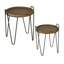 Round Tray Table with Handles (2 pc. set)