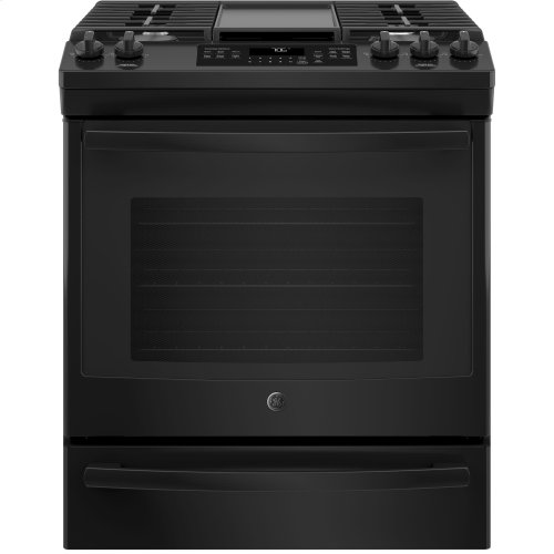 "GE® 30"" Slide-In Front-Control Convection Gas Range"