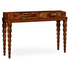 Twisted leg walnut console with drawers