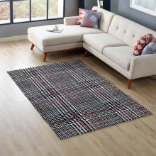 Kaja Abstract Plaid 5x8 Area Rug in Ivory, Black and Red