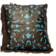 Lg Leather Pillows W/Fringe & Tooled Lthr