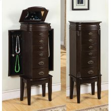 "Italian Influenced Transitional ""Espresso"" Jewelry Armoire"