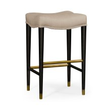 Black Bar Stool, Upholstered in MAZO