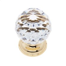 24k Gold 40 mm Round Faceted Knob