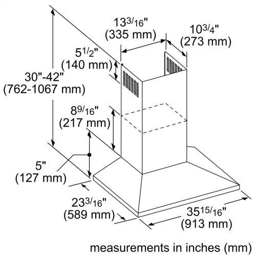 36-Inch Masterpiece® Pyramid Chimney Wall Hood with 600 CFM
