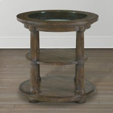 Compass Western Brown Compass Round Lamp Table