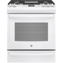 "GE® 30"" Slide-In Front-Control Convection Gas Range.  (This is a Stock Photo, actual unit (s) appearance may contain cosmetic blemishes. Please call store if you would like actual pictures). This unit carries A ONE YEAR MANUFACTURER WARRANTY. REBATE NOT VALID with this item. ISI 34155GH"