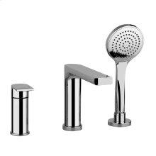 """Three-hole roman tub set Diverter Spout - Projection 7-1/2"""" Handshower 59"""" flex hose Hand shower max flow rate 2.0 GPM Spout max flow rate 4.3 GPM at 43 PSI"""