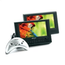 """DPA-08055S: 8"""" Two Screen Portable DVD Player with 15-in-1 Game Controller"""