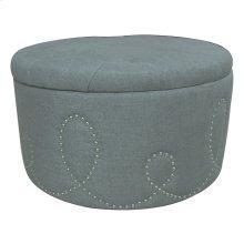 Sophia Button Tufted Light Grey Linen Ottoman w/ Nailhead Loop Design