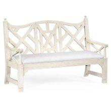 White Painted Lattice Work Bench - COM