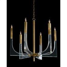 Acrylic and Brass Six-Light Chandelier