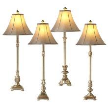 Antique Silver Buffet Lamp (4 asstd). 40W Max.