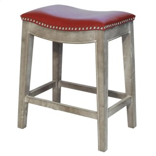 Elmo Bonded Leather Counter Stool Mystique Gray Frame, Red