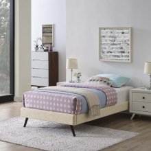 Loryn Twin Fabric Bed Frame with Round Splayed Legs in Beige