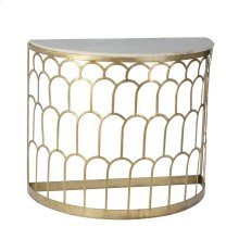 Metal Scale Design Console, Marble Top, Gold