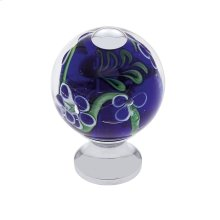 Polished Chrome 30 mm Blue Knob w/Flowers