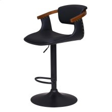 Darwin KD PU Bamboo Gaslift Bar Stool, Black/Walnut