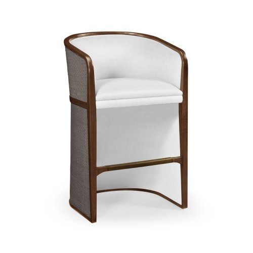 Walnut & Dark Grey Rattan Tub Bar Stool, Upholstered in COM