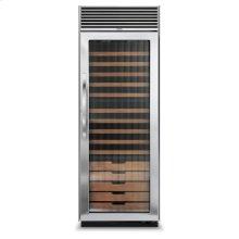 "Stainless Steel 30"" Full-Height Wine Cellar - DDWB (Right Hinge Fluted Door, Designer handle)"