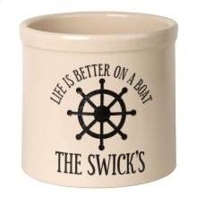 Personalized Life is Better on a Boat Crock - Bristol Crock with Black Etching