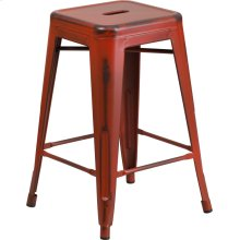 """Commercial Grade 24"""" High Backless Distressed Kelly Red Metal Indoor-Outdoor Counter Height Stool"""