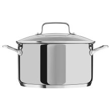 6.0 Quart Low Casserole with lid - Polished Stainless Steel