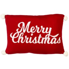 """Red & White """"Merry Christmas"""" Knit Pillow with Pom Poms."""