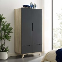 Origin Wood Wardrobe Cabinet in Natural Gray