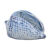 Blue Ceramic Seashell, Cone
