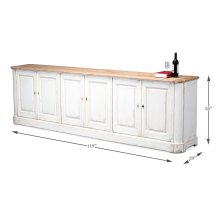 Antique White Wash Sideboard, 6 Door