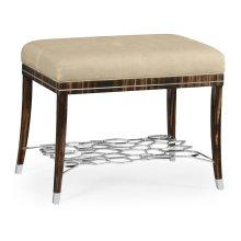 Macassar Ebony Stool with White Brass Detail, Upholstered in MAZO