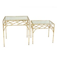 S/2 Gold Metal Accent Tables,glass Top