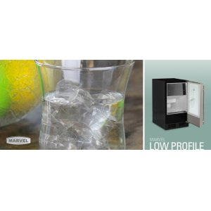"""15"""" Low Profile Clear Ice Machine - No Factory-Installed Drain Pump - Solid Stainless Steel Door - Left Hinge"""