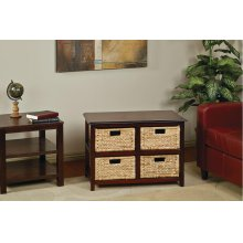 Seabrook Two-tier Storage Unit With Espresso Finish and Natural Baskets