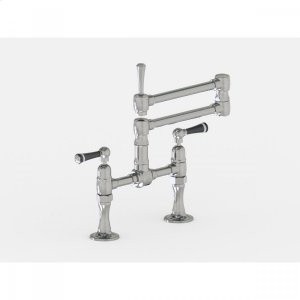 """Brushed Stainless - Deck Mount 17 3/4"""" Articulated Dual Swivel Spout with Black Ceramic Lever Product Image"""
