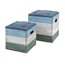 Delta Wood Crate Ottomans - Set of 2