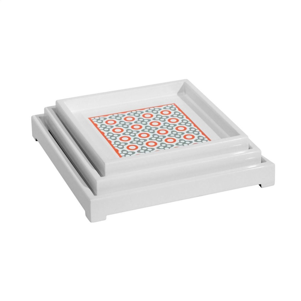 Ashley Square Nesting Trays, Orange-Gray-White