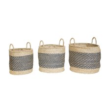 Black And Natural Seagrass Essential Baskets