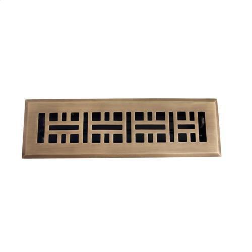 "Ventura Brass Heat Register - 2 1/4"" x 12"" (4"" x 13 1/2"") / Antique Brass"