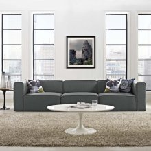 Mingle 3 Piece Upholstered Fabric Sectional Sofa Set in Gray