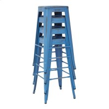 "Bristow 30"" Antique Metal Barstool, Antique Royle Blue Finish, 2-pack"
