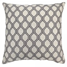Andante Contemporary Decorative Feather and Down Throw Pillow In Cobalt Jacquard Fabric