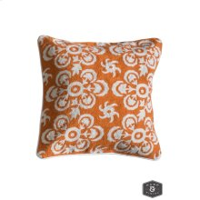 LOWRY PILLOW- ORANGE  Hand Embroidered Wool on Cotton  Down Feather Insert