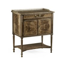 Bleached Mahogany Bedside Table with Brass Gallery