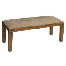 Bengal Manor Mango Wood Burlap Bench
