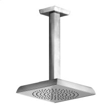 """Ceiling-mounted pivotable shower head with arm 1/2"""" connections Projection from ceiling 10-5/8"""" Max flow rate 2"""