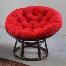 Bali 42-inch Indoor Fabric Rattan Papasan Chair - Walnut/Red