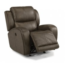 Chaz Leather Power Gliding Recliner with Power Headrest Upgrade